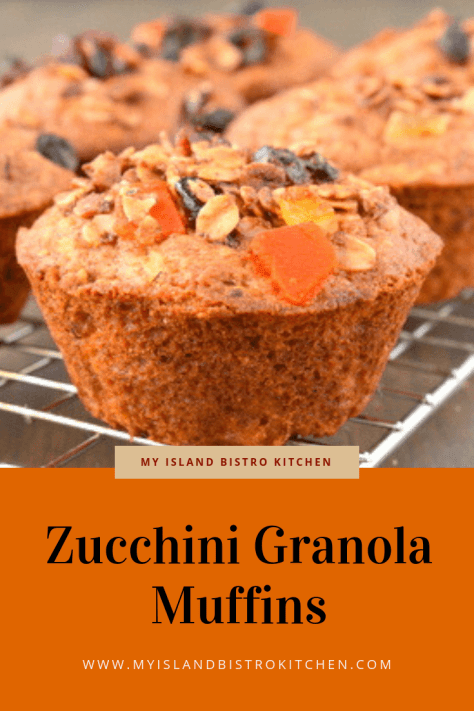 Colorful Zucchini Granola Muffins on Cooling Rack