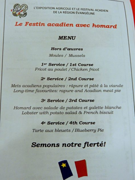 Menu for 2016 Le Festin acadien avec homard