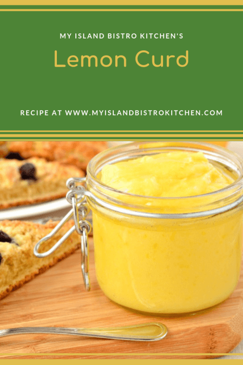 Jar of bright yellow lemon curd with scones in the background
