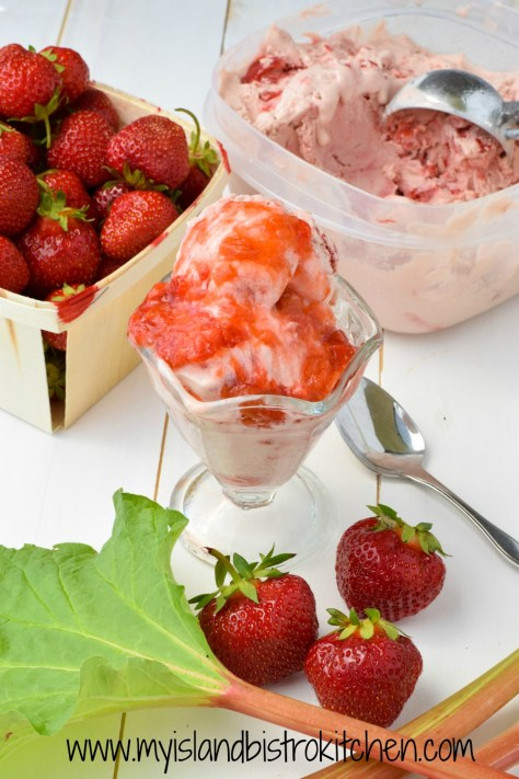 Strawberry Rhubarb Ice Cream Sundae
