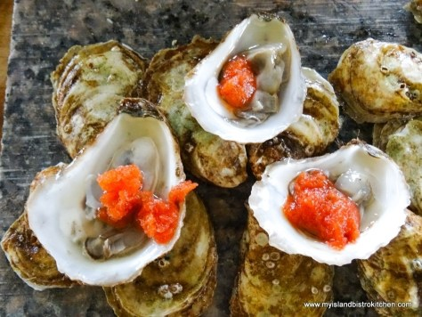 Brudenell Bully Oysters Served with Frozen Bloody Mary