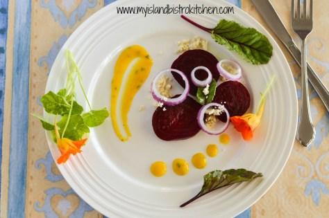 Beet and Feta Salad with Mango Salad Dressing