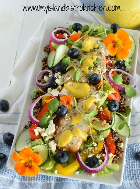Mango Salad Dressing on Chicken and Quinoa Salad