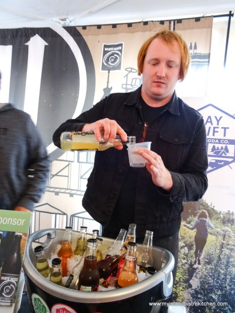 """Pouring a sample of Upstreet Brewing Company's new soda - """"Taste of North Rustico"""" 2017"""