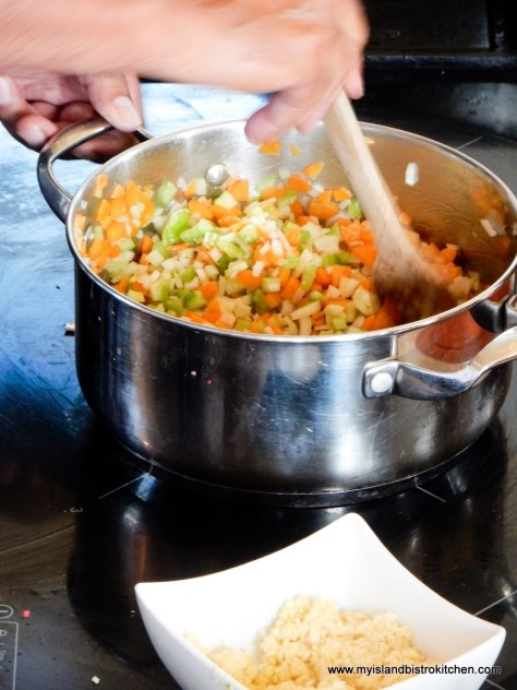 Stirring the Mirepoix for the Lobster Bisque at The Table Culinary Studio, New London, PEI