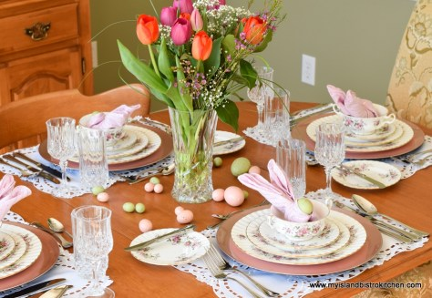 Wooden table set with large bouquet of pink and orange tulips and Royal Albert Lavender Rose China