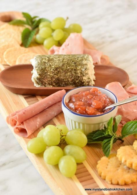 Rhubarb and Mango Chutney on Charcuterie and Cheese Board