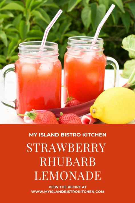 Glass mugs of Strawberry Rhubarb Lemonade