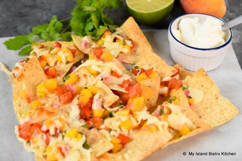 Peach Salsa on Tortilla Chips