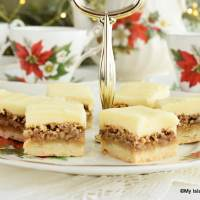 Plate of Christmas Squares set out for afternoon tea