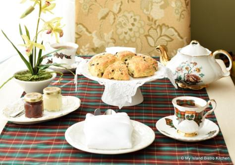 Cream Tea setting featuring scones and PEI Cups and Saucers