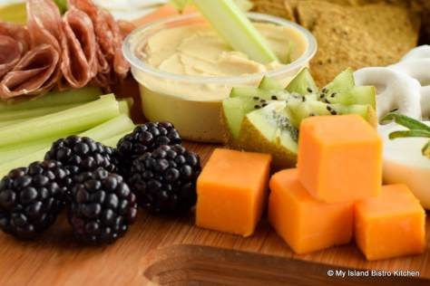 Blackberries and Cheddar Cheese on Grazing Board