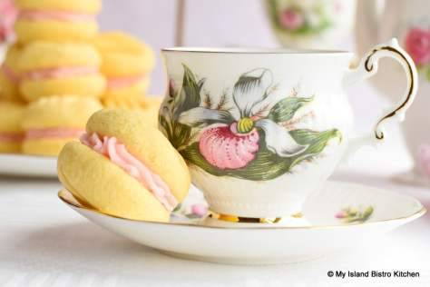 Elizabethan Lady's Slipper Cup and Saucer with Pretty Sandwich Cookie on the side