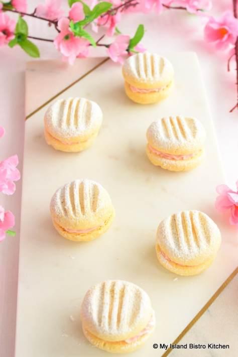 Pretty Sandwich Cookies on Marble Board