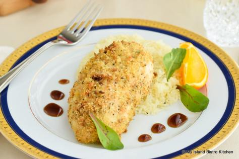 Breaded Stuffed Chicken Breast with Basmati Rice