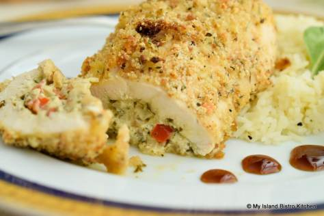Vegetable, cheese, and pesto stuffed chicken breasts