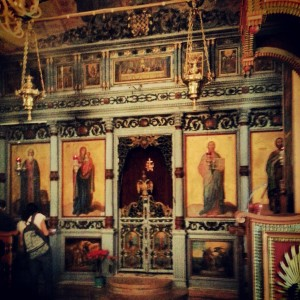 Inside the church at the Monastery of St Gerassimos