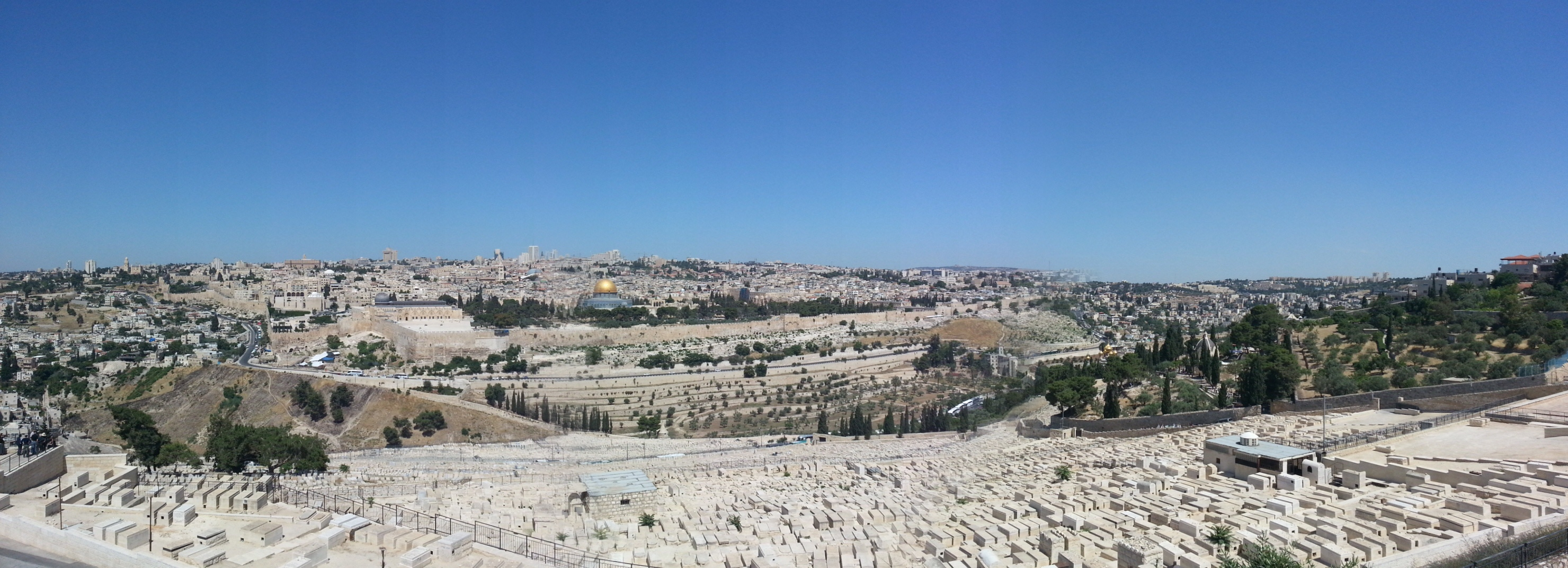 View over the Old City of Jerusalem from the Mount of Olives