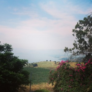 View over the Sea of Galilee at the Mount of Beatitudes
