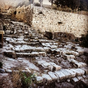 Steps leading down Mount Zion towards Gethsemane from the Roman period