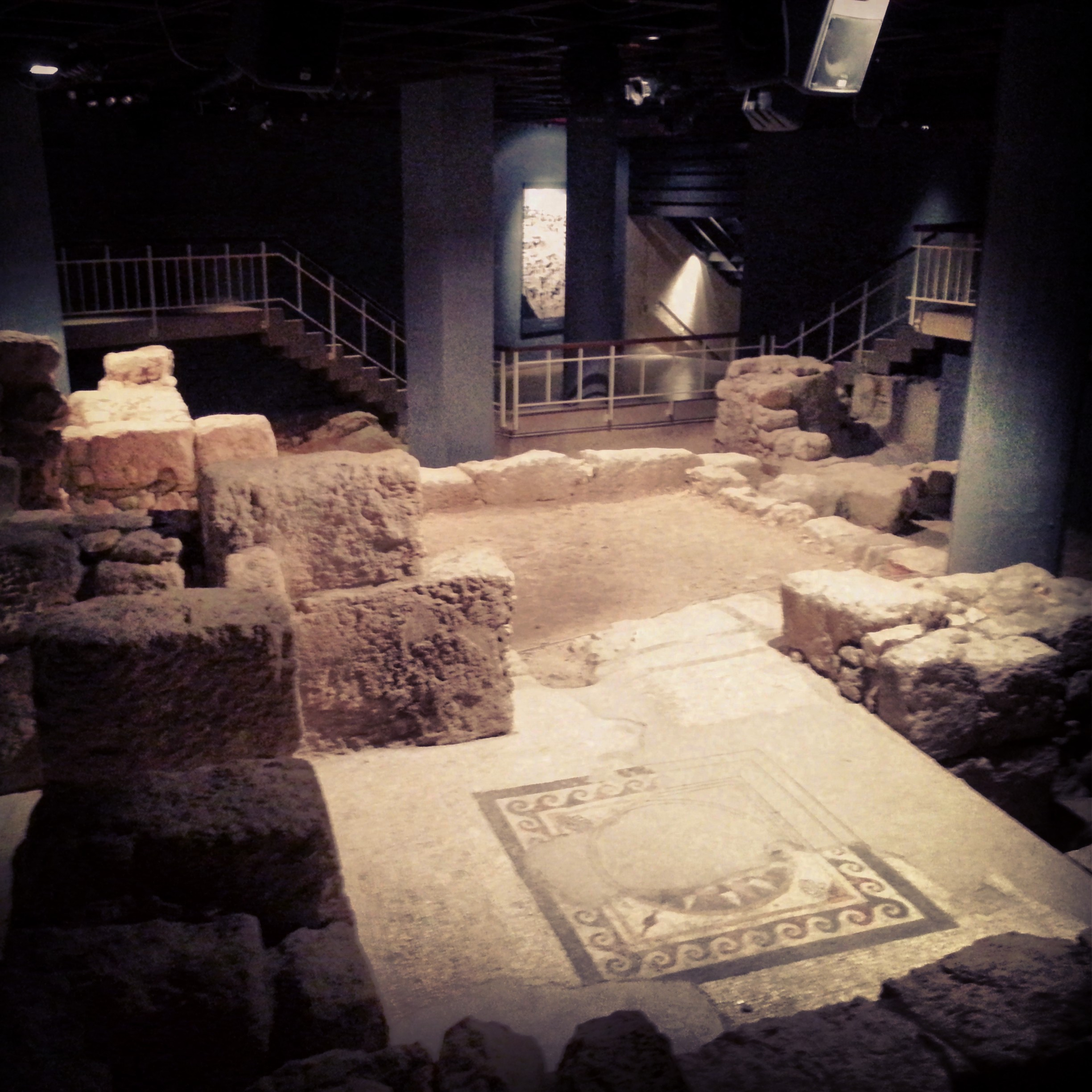 The oldest mosaic in Israel in the Wohl Museum of Archaelogy, Jerusalem