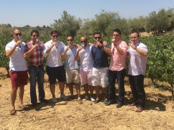 People enjoying wine in Vineyards Carmel Mountains Israel