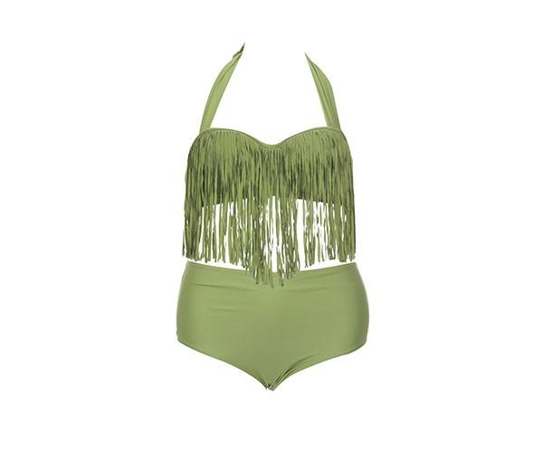 Bikini a fascia con top a frange