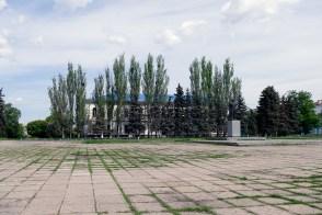 Центральная площадь, памятник Ленину, гор. поликлиника в Изюме
