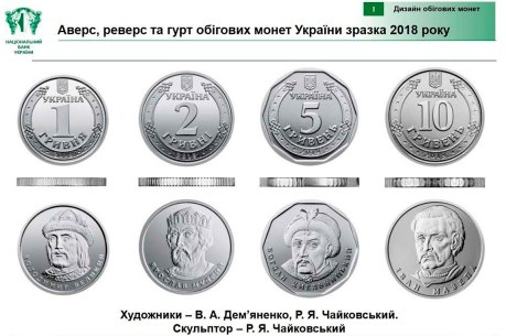 Аверс, реверс и гурт оборотных монет Украины образца 2018 года