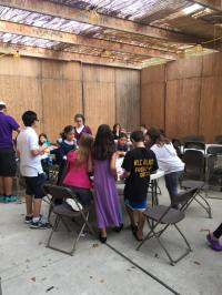 Hebrew schools students at The Shul in West Bloomfield enjoy the weather and their wonderful sukkah.