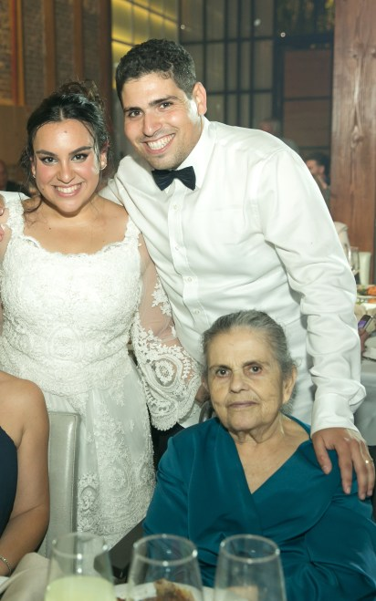 Eviatar, his wife Liraz and his grandmother at this wedding.