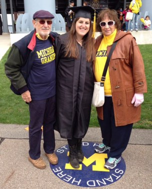 Alyssa with her Grandpa and Mommom.
