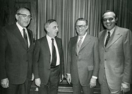 1973 Allied Jewish Campaign event. L to R: Max Fisher, Louis Pincus, Sam Frankel, Bill Berman