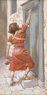 """""""The Signs on the Door"""" by James Tissot"""