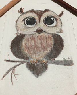 Sketch of an owl done with pencil, charcoal, and colored pencil.