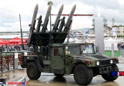 The CLAWS (Complementary Low Altitude Weapon System) AMRAAM missiles mounted on M1097A2 HMMWV, Paris Air Show, Le Bourget, 06/2007