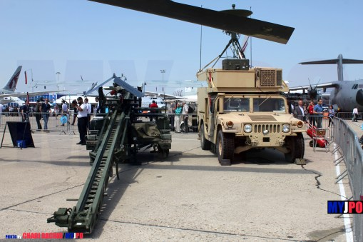 US Army RQ-7 Shadow UAV & M1113 Air Vehicle Transporter (AVT) of the 2nd Cavalry Regiment, Paris Air Show, Le Bourget, 06/2015.