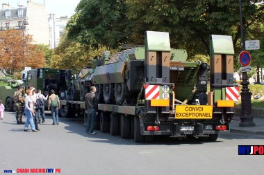 French Army Sisu E-Tech 480 w/ SR-PC 50 trailer of the 516e Régiment du Train (516e RT) & AMX-10 RCR of the 1er Régiment d'Infanterie de Marine (1er RIMa), Place de la Nation, Paris, July 14, 2011.