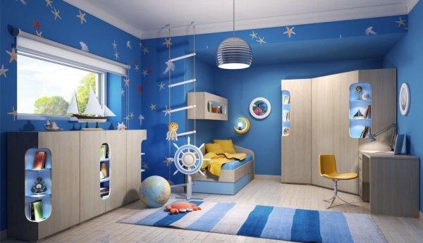 Дизайн комнат для мальчиков в синих тонах (53 фото)