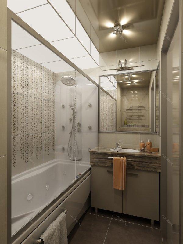 Дизайн проекты маленьких ванных комнат (49 фото)