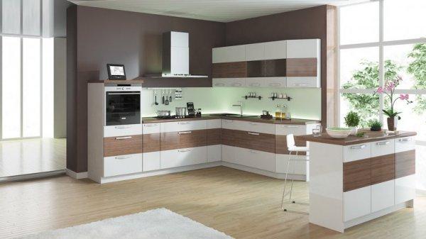 Современные угловые кухни (54 фото)