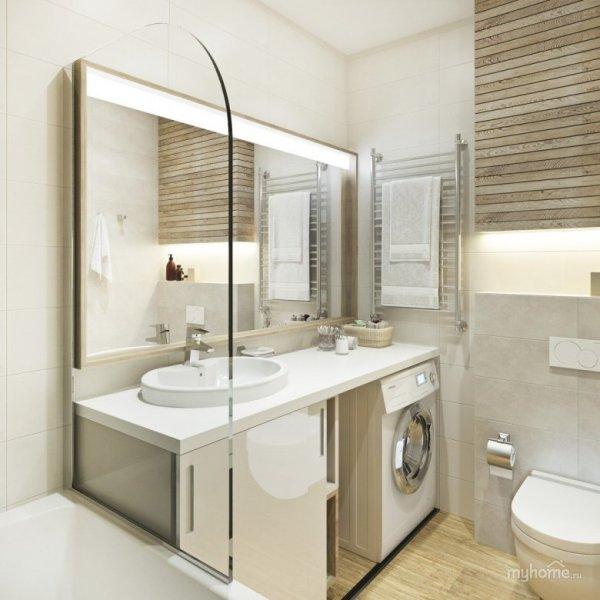 Дизайн маленьких санузлов и ванных комнат (57 фото)