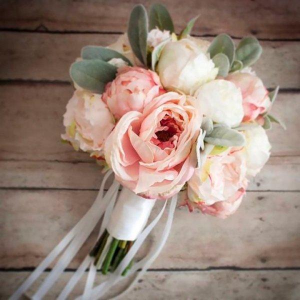 Букеты невесты из белых пионов (55 фото)