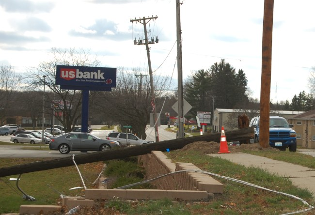 This power pole was knocked over during last weekend's high winds. It was located in front of the Dollar General in Twin Lakes and repaired the next day. The store was forced to close early   Nov. 17.