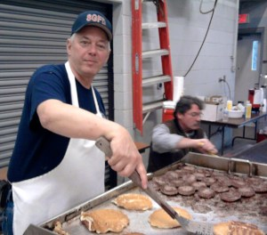 RR 3 col BW SG fire dept. chief cooks bfast