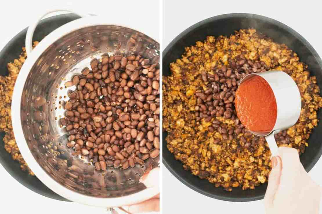 Two photo collage showing black beans and tomato purée being added to a fry pan.