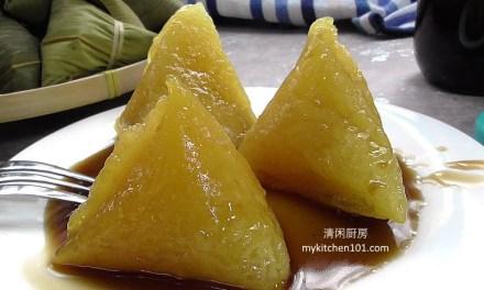 碱水粽搭配椰糖浆