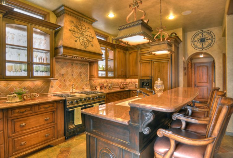 Tuscan Kitchen With Sage Cabinets And Brick Ceiling Design Pictures     Pictures Of Tuscan Style Kitchen Designs Rustic Tuscan Themed Kitchen Ideas  Warm And Inviting With