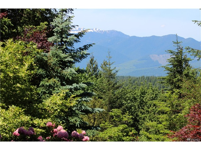 View of the Olympic Mountains off the the Romeo and Juliette balcony deck off of the Master bedroom.