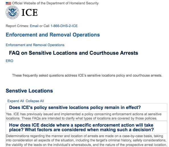 移民执法力度加强 – 移民局将在联邦, 州, 和地方法院实行逮捕